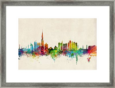 Dubai Skyline Framed Print by Michael Tompsett