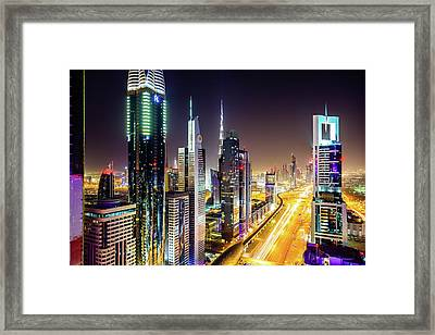 Dubai Skyscrapers, United Arab Emirates Framed Print by Mbbirdy