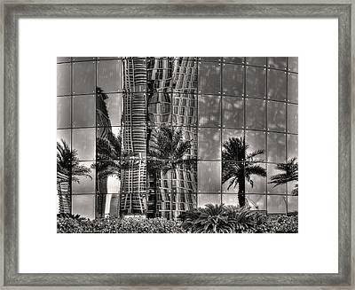 Dubai Street Reflections Framed Print