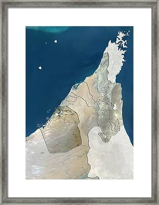 Dubai, Uae, Satellite Image Framed Print by Science Photo Library