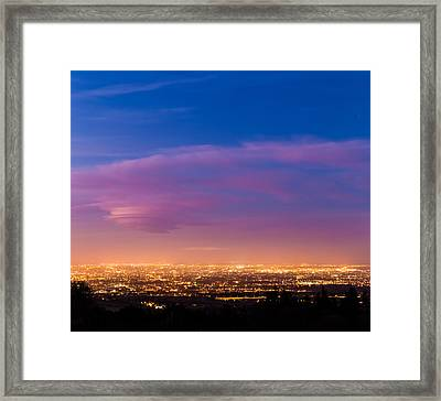 Dublin City At Dusk During Blue Hour Framed Print by Semmick Photo