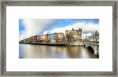 Dublin River Liffey Panorama Framed Print by Mark E Tisdale