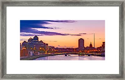 Framed Print featuring the photograph Dublin Skyline At Dusk / Dublin by Barry O Carroll