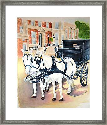 Dublin-st. Stephens Green Carriage Ride Framed Print by Kathy Stocks