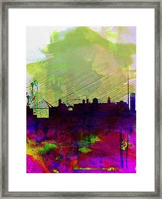 Dublin Watercolor Skyline Framed Print