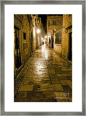 Dubrovnik Streets At Night Framed Print
