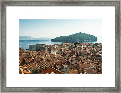 Framed Print featuring the photograph Dubrovnik View To The Sea by Phyllis Peterson