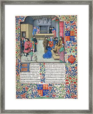 Duc De Berry Receives The Book Framed Print by British Library