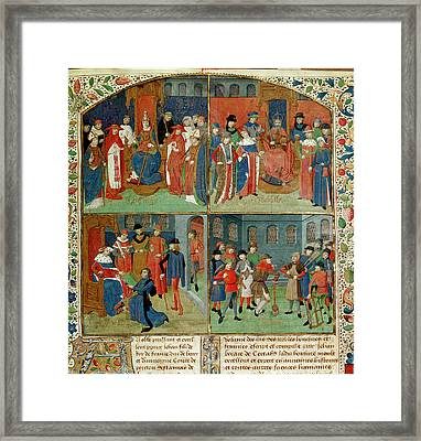 Duc De Berry Receiving The Book Framed Print by British Library
