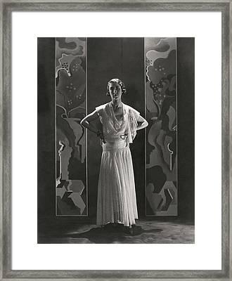 Duchess Of Alba Wearing A Lace Gown Framed Print by George Hoyningen-Huene