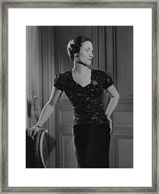 Duchess Of Windsor At Hotel Meurice Framed Print by Horst P. Horst