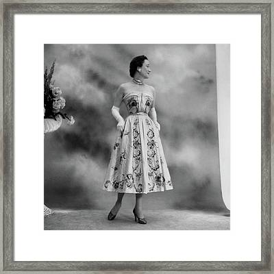 Duchess Of Windsor In A Dior Ball Gown Framed Print