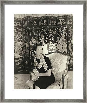 Duchess Of Windsor In Short-sleeved Dress Framed Print by Horst P. Horst