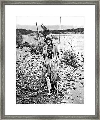 Duchess Of York Catches Trout Framed Print by Underwood Archives