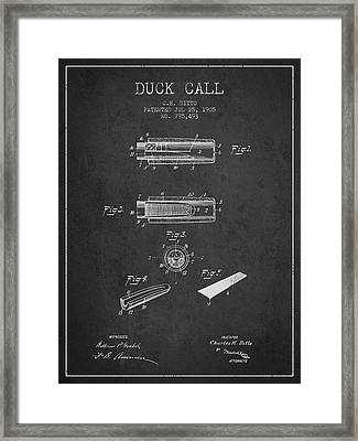 Duck Call Instrument Patent From 1905 - Charcoal Framed Print