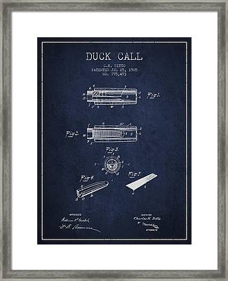 Duck Call Instrument Patent From 1905 - Navy Blue Framed Print