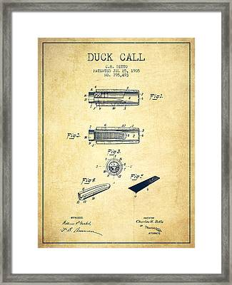 Duck Call Instrument Patent From 1905 - Vintage Framed Print by Aged Pixel