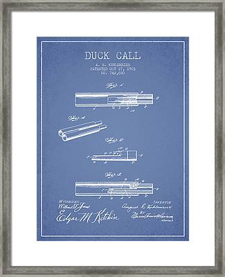 Duck Call Patent From 1903 - Light Blue Framed Print
