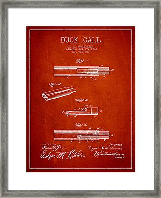 Duck Call Patent From 1903 - Red Framed Print by Aged Pixel