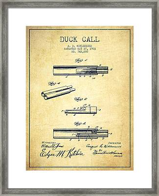 Duck Call Patent From 1903 - Vintage Framed Print