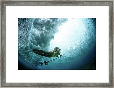 Duck Dive From Beneath The Water Framed Print by Richinpit
