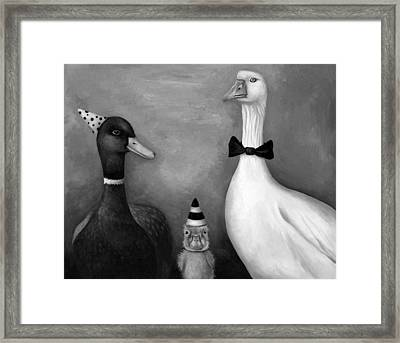 Duck Duck Goose Bw Framed Print by Leah Saulnier The Painting Maniac