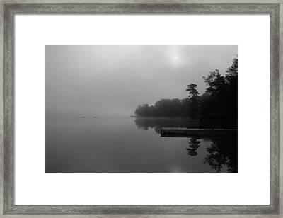Duck Harbor Early Morning Fog Framed Print by Patsy Zedar