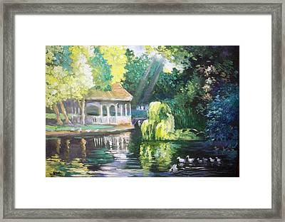 Framed Print featuring the painting Duck Pond Stephens Green  Park Dublin by Paul Weerasekera