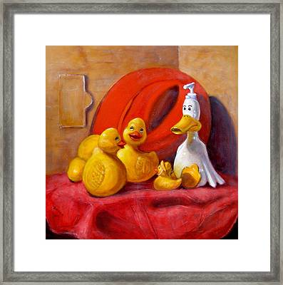 Duck Soap With Red Hat Framed Print
