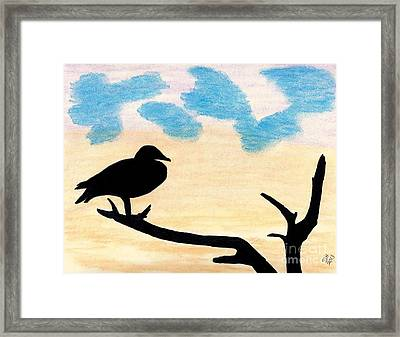 Framed Print featuring the drawing Duck Sunset by D Hackett