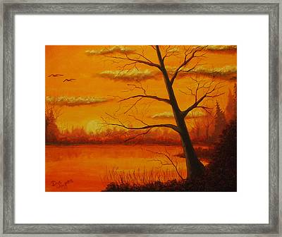 Framed Print featuring the painting Duck Sunset by Dan Wagner