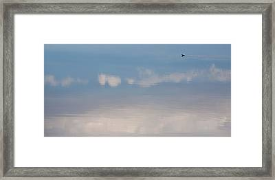 Duck Tail Contrail Framed Print by Peter Tellone