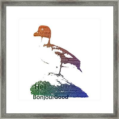 Duck With Colored Text Framed Print by Tommytechno Sweden