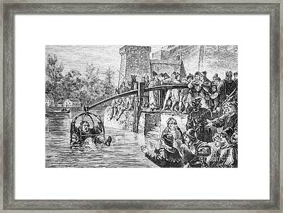 Ducking Punishment, Historical Artwork Framed Print by Bildagentur-online