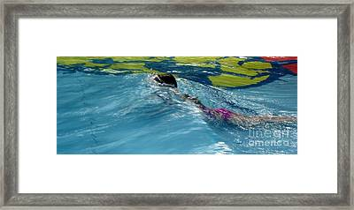 Ducking Under A Wave In A Pool Framed Print by Kerri Mortenson