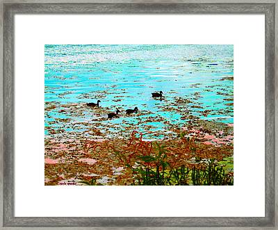 Ducklings On The Shore St Lawrence River Lachine Canal Art Of Quebec Landscapes Carole Spandau Framed Print by Carole Spandau