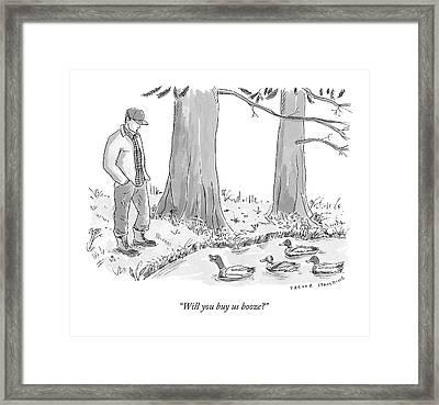 Ducks In A Pond Speak To A Man Framed Print by Trevor Spaulding