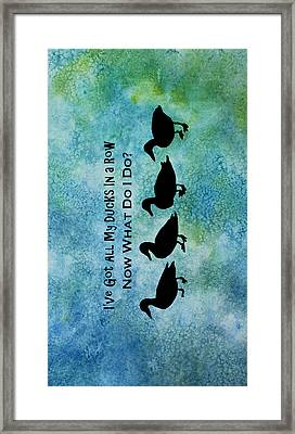 Ducks In A Row Framed Print by Jenny Armitage