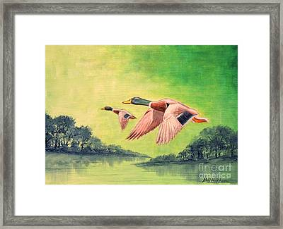 Ducks In Flight Framed Print