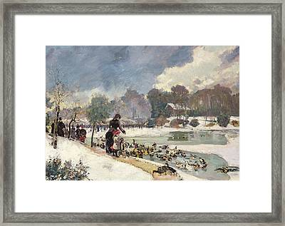 Ducks In The Bois De Boulogne Framed Print