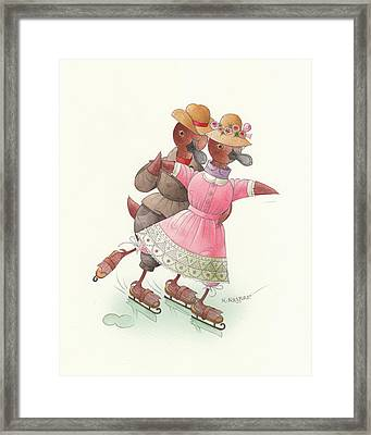 Ducks On Skates 03 Framed Print