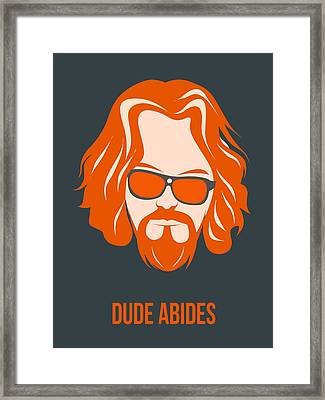 Dude Abides Orange Poster Framed Print by Naxart Studio