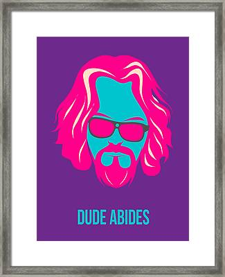 Dude Abides Purple Poster Framed Print by Naxart Studio