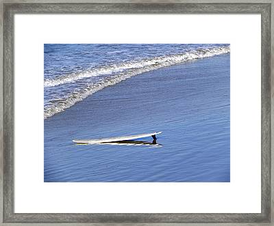 Framed Print featuring the photograph Dude Where Is My Surfer by Kathy Churchman