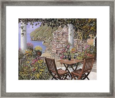 due bicchieri a Positano Framed Print