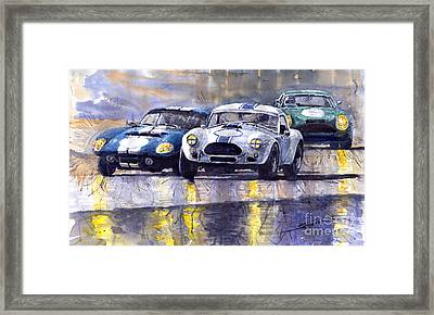 Duel Ac Cobra And Shelby Daytona Coupe 1965 Framed Print by Yuriy  Shevchuk