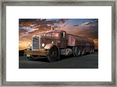 Duel Truck With Trailer Framed Print