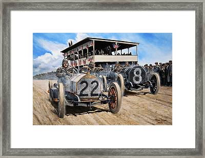 Dueling At The Vanderbilt Cup Framed Print by Ruben Duran