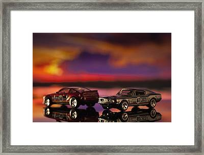 Dueling Mustangs Framed Print by Bradley R Youngberg
