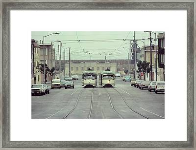 N Judah Dueling Streetcars.  End Of Judah Street.  1970s. Framed Print